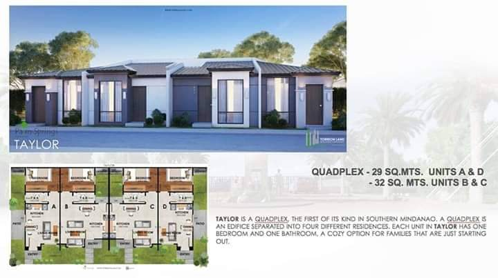 Palm Spring subdivision Taylor quadplex unit - Brand New House and Lot property in Davao City